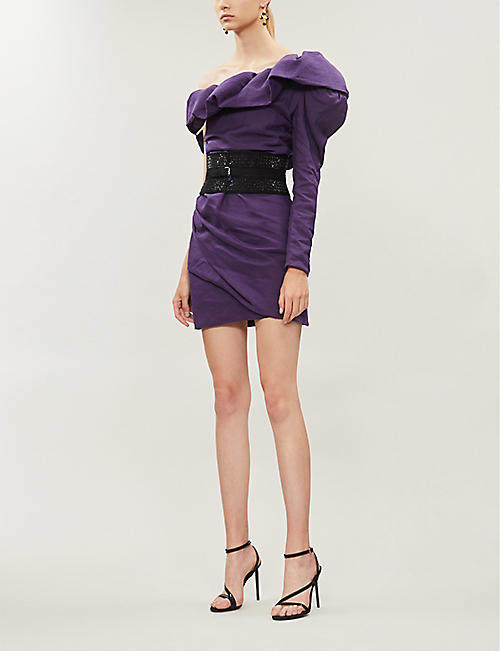 DUNDAS One-sleeved ramie mini dress
