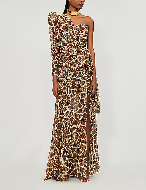 DUNDAS One-shoulder giraffe-print metallic silk maxi dress