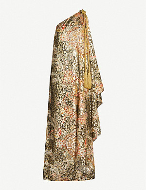 DUNDAS Printed one-shoulder lamé maxi dress