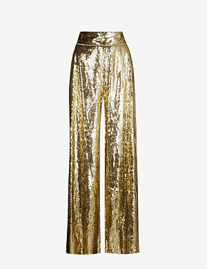 DUNDAS Wide-leg sequinned trousers