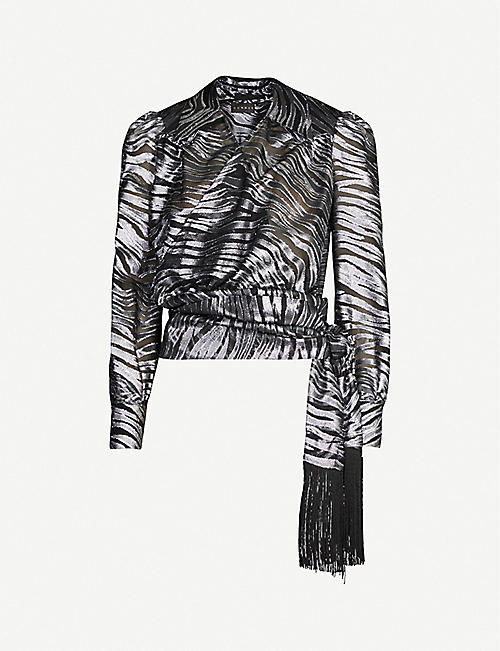 DUNDAS Tiger-print fil-coupe blouse