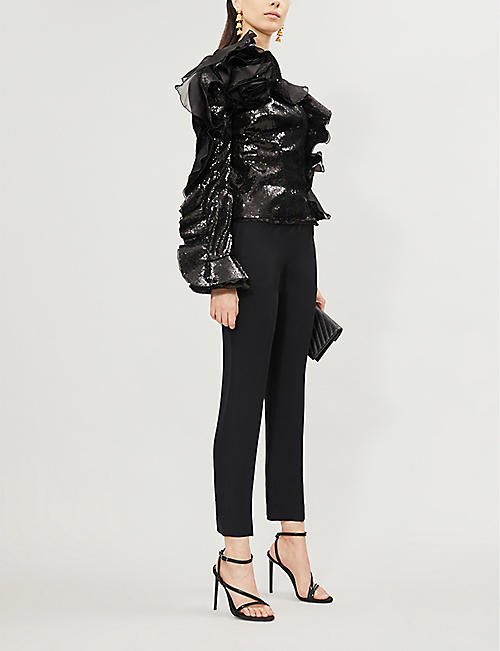 DUNDAS Ruffled one-shoulder sequinned top