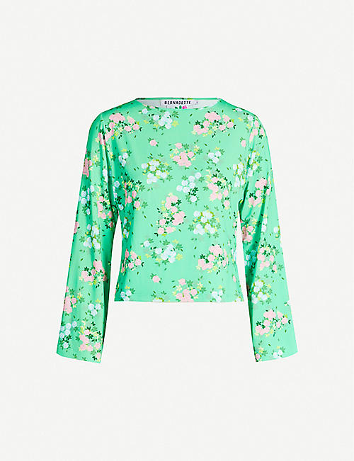 BERNADETTE Monica floral-print stretch-jersey top