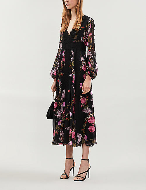 GIAMBATTISTA VALLI Floral-print silk and cotton-blend midi dress