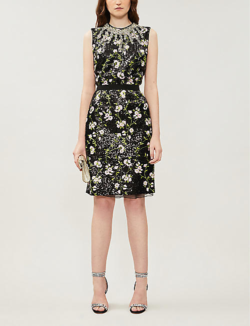 GIAMBATTISTA VALLI Floral-embroidery sleeveless sequinned mini dress