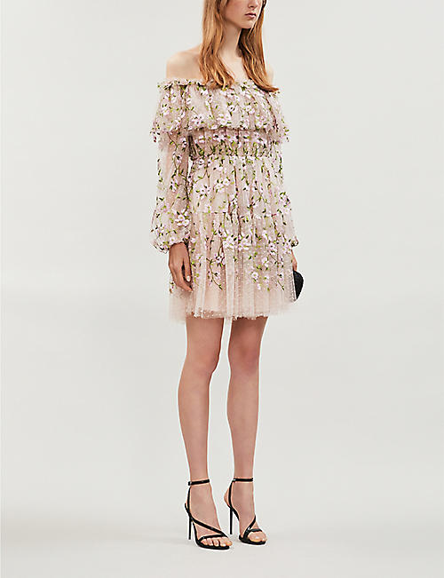 GIAMBATTISTA VALLI Floral-embroidery off-the-shoulder silk and cotton-blend mini dress