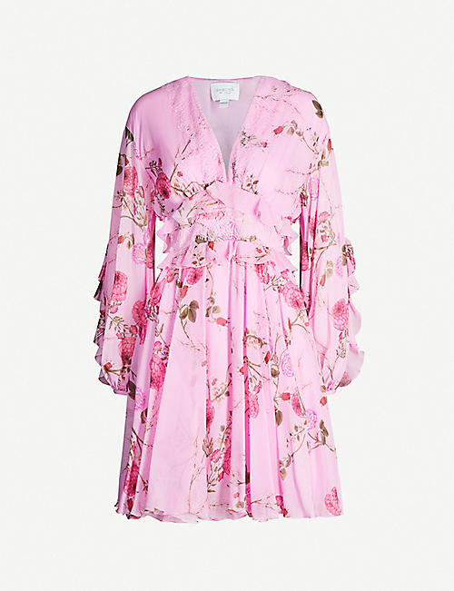 GIAMBATTISTA VALLI Floral-print ruffled silk mini dress