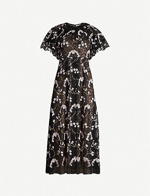 GIAMBATTISTA VALLI Ruffled-overlay embroidered floral-lace midi dress