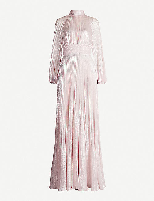 GIAMBATTISTA VALLI Lace-trim metallic silk-blend dress