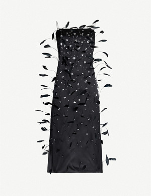 MAGDA BUTRYM Abu Zabi feather-embellished silk-satin midi dress