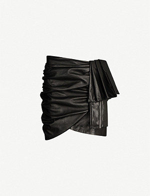 MAGDA BUTRYM Evanstone wrapover leather mini skirt