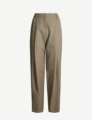 MAGDA BUTRYM High-rise checked wool tapered trousers