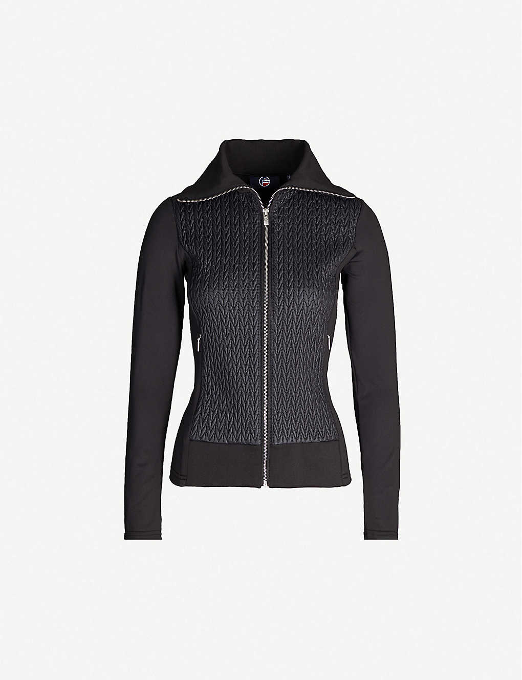 FUSALP: Myrtille funnel-neck chevron-pattern woven ski jacket