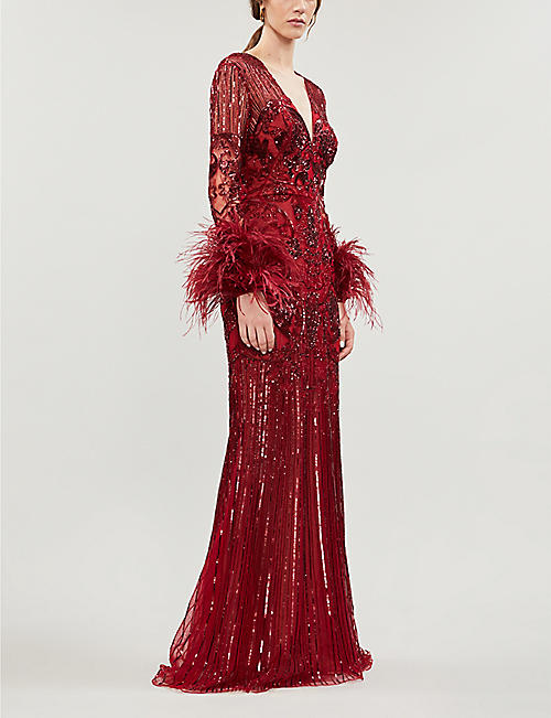 ZUHAIR MURAD Chado feather-trimmed embellished gown