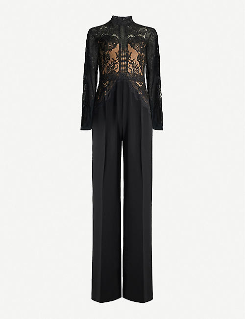 ZUHAIR MURAD Misa high-neck lace and crepe wide-leg jumpsuit