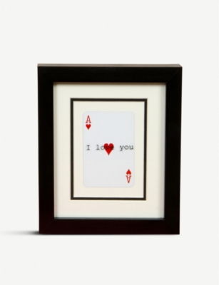 VINTAGE PLAYING CARDS I Heart You Ace of Hearts frame