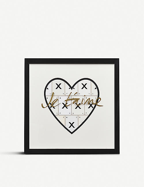 VINTAGE PLAYING CARDS Je T'aime playing card heart frame 30x30cm