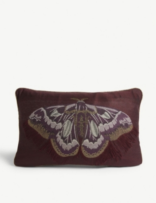 FERM LIVING Salon embroidered butterfly cushion 40cm x 25cm