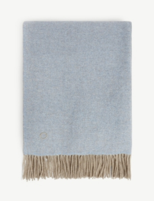 OYUNA Uno two-tone fringed cashmere throw