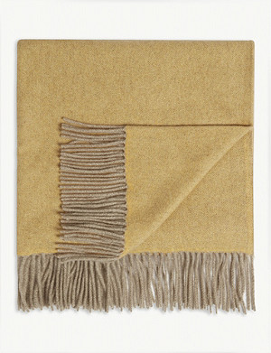 OYUNA Uno two-tone fringed cashmere throw 200cm x 145cm