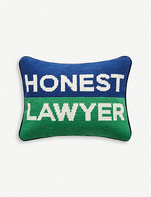 JONATHAN ADLER Needlepoint Honest Lawyer wool pillow