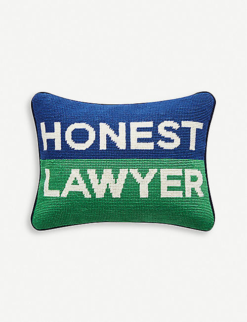 JONATHAN ADLER: Needlepoint Honest Lawyer wool pillow