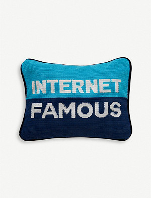JONATHAN ADLER Needlepoint internet famous wool pillow