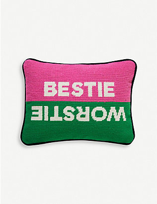 JONATHAN ADLER: Needlepoint bestie worstie wool pillow