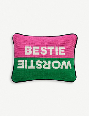 JONATHAN ADLER Needlepoint bestie worstie wool pillow