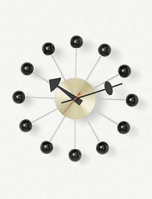 VITRA Balls metal and wood wall clock 33cm
