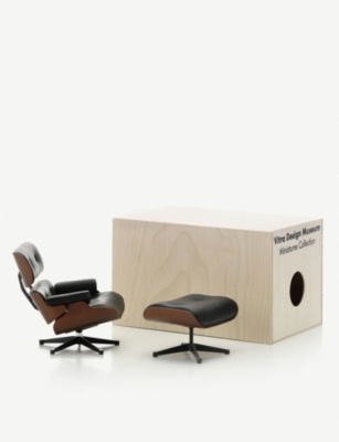 VITRA Lounge Chair & Ottoman plywood and leather miniature chair