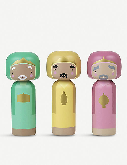 LUCIE KAAS Wise Men wooden Kokeshi dolls set of three