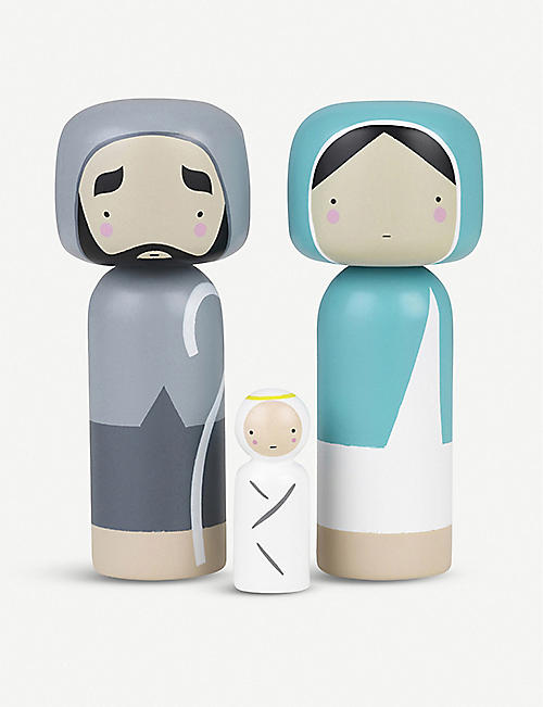 LUCIE KAAS Nativity wooden Kokeshi dolls set of three
