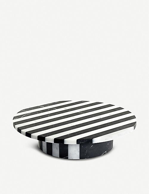 EDITIONS MILANO Alice striped marble cake stand 25.5cm