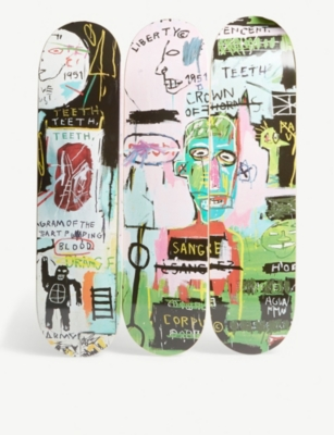 THE SKATEROOM Jean-Michel Basquiat's 'In Italian' skateboards set of three