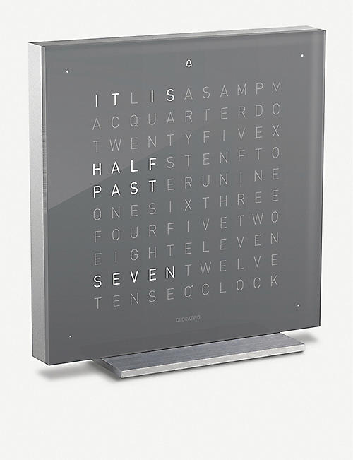 QLOCKTWO Touch Early Grey acrylic clock 13.5cm