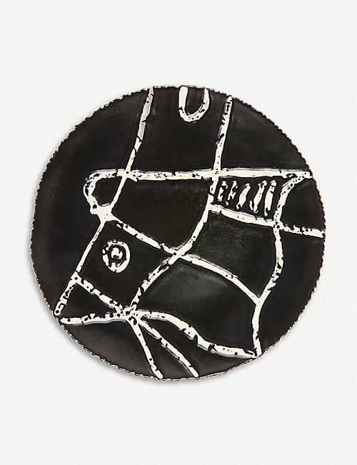 AGNES SANDAHL: Abstract glazed ceramic plate 30cm