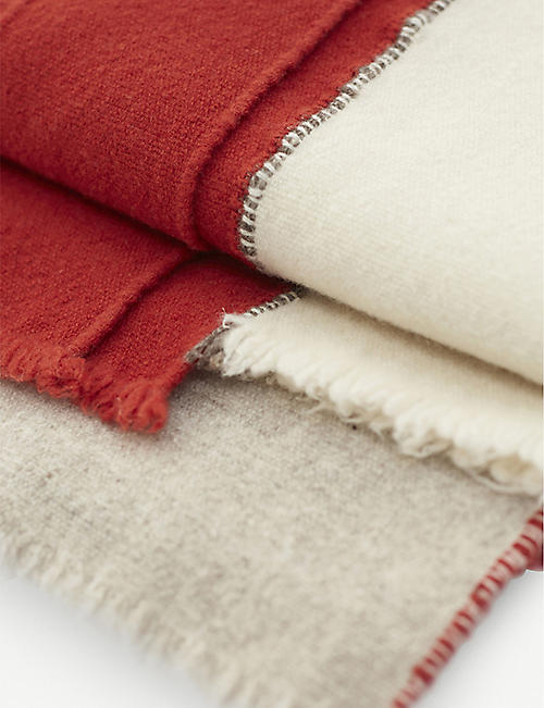 TEIXIDORS Faye Toogood panelled fringed merino wool throw