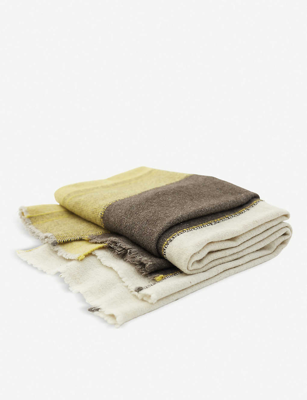 TEIXIDORS: Faye Toogood panelled fringed merino wool throw