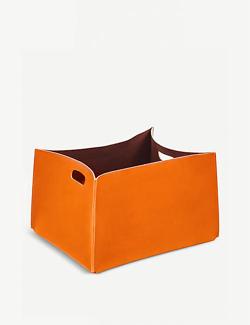 RABATTI Amsterdam rectangle leather basket 31cm