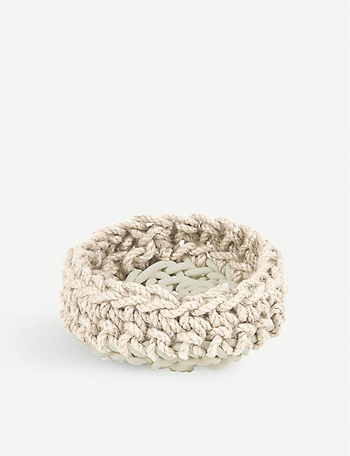 NEO HC3 neoprene and natural hemp woven basket 10cm x 22cm