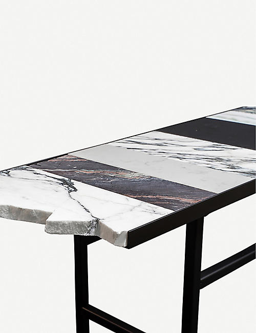 GOODWASTE Reclaimed marble and powder-coated steel bench 45cm