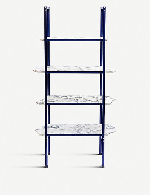 GOODWASTE Reclaimed marble and powder-coated steel shelves 171cm