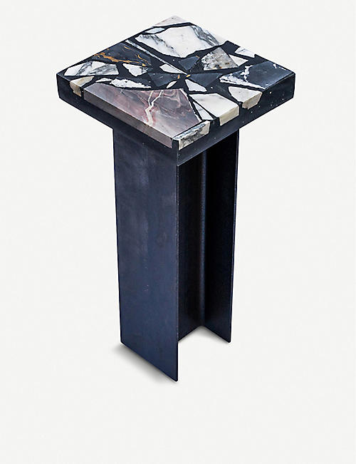 GOODWASTE Reclaimed marble, Jesmonite and steel side table