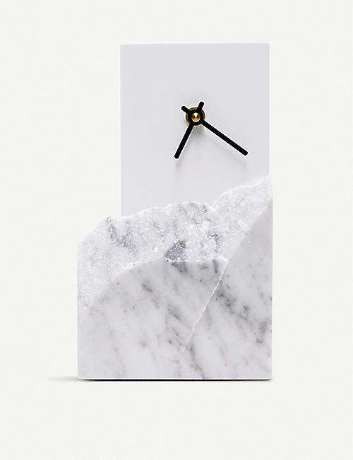 GOODWASTE Minimal waste-corian and waste-marble table clock 22cm