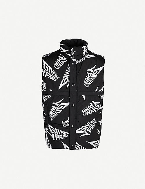 GIVENCHY Reversible funnel-neck logo-print shell gilet
