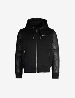 GIVENCHY Logo-print neoprene and leather hooded jacket