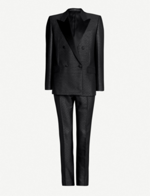 GIVENCHY Double-breasted slim-fit metallic jacquard suit