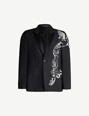 GIVENCHY Dragon-embroidered wool and mohair-blend and silk-blend blazer