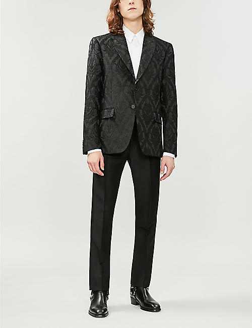 GIVENCHY Silk-satin-trim tailored-fit straight mohair and wool-blend trousers